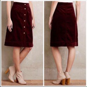 ANTHROPOLOGIE Front Button Corduroy Skirt 16 NWT